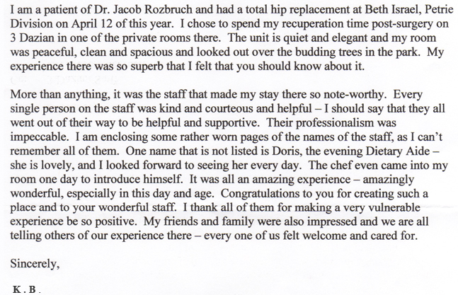 NYC Orthopedist Testimonial For Dr. Jacob Rozbruch